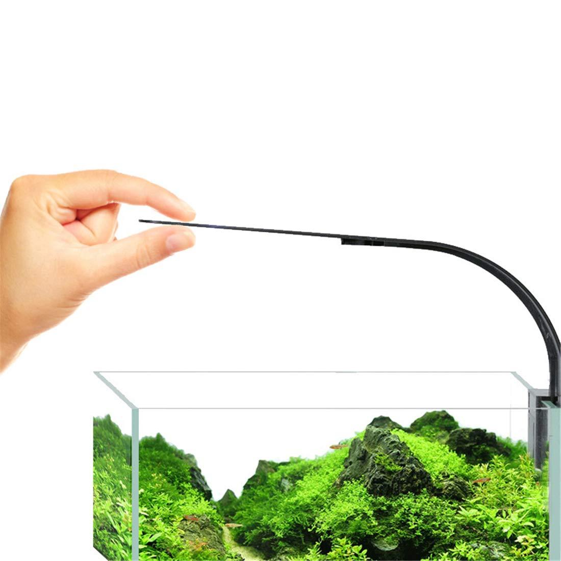 Black 10W UltraThin LED Fish Tank Clip Light Fashion Water Grass Lighting Aquarium Lamp White Light for Mini Tanks,110220V,Black