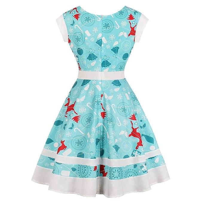 Christmas Series Dress-Women Xmas Deer Printing Tie-up Sleeveless Vintage Party Mini Swing Dress at Amazon Womens Clothing store: