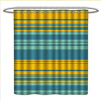 Yellow And Blue Shower Curtains Sets Bathroom Horizontal Abstract Color Stripes Lines Simplistic Modern Art Print