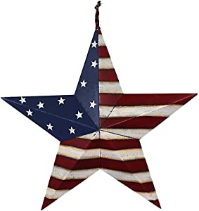 "E-view Metal American Flag Barn Star Decor Patriotic Mounted 3D Wall Art July of 4th Decoration 12""-A"