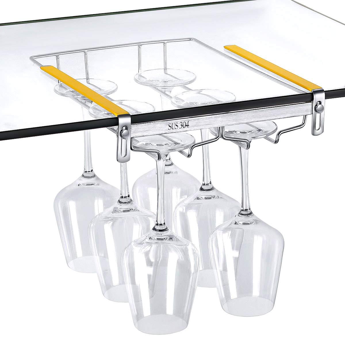 VOBAGA Wine Glass Holder, Stemware Rack Under Cabinet Storage 2 Rows Adjustable Stainless Steel Wine Glass Rack,Hold 6 Glasses
