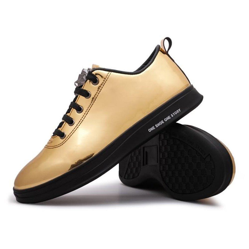 XHD-Schuhe Herrenmode Turnschuhe Flache Ferse Schnüren Lackleder Freizeitschuhe (Farbe   Gold, Größe   7MUS)