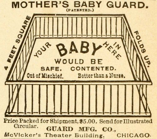 1891 Ad Mothers Baby Products Guard Antique Safety Play Pen Pricing Chicago - Original Print Ad