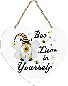 Fufafayo Happy Bee'S Day Hanging Decorations Bee Festival Gnome Wall Decor Bee Hanging Ornaments Honeycomb Sign Spring Summer Home Farm Kitchen Doll Decor (D)