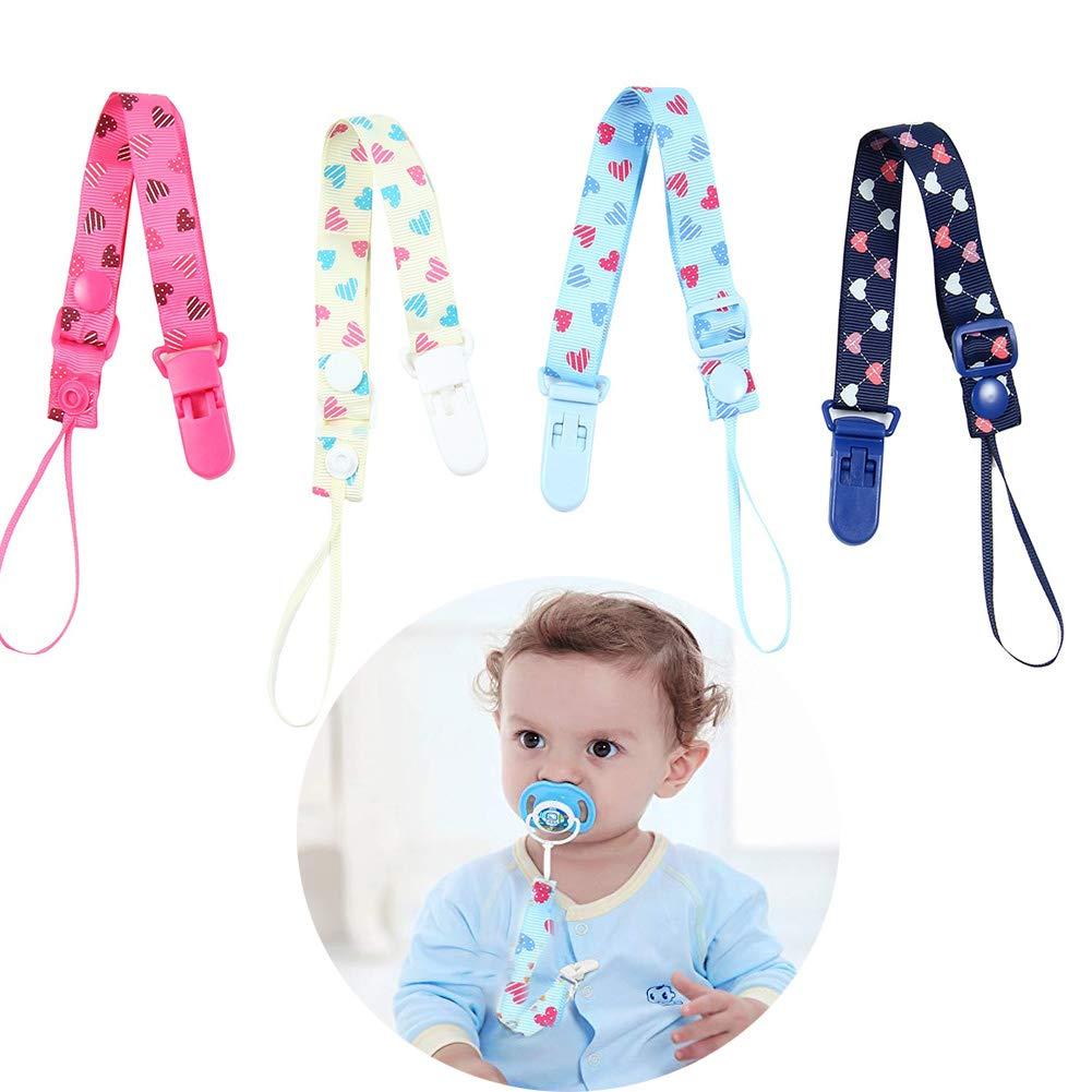 MOGOI Sujeta Chupete, 4 Pack Chupete Titular se Ajusta a la mayoría de los Estilos Chupete Lindo bebé Juguetes de dentición para niños y niñas