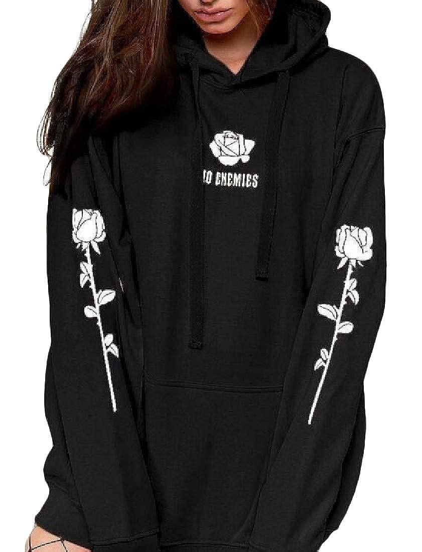 Pandapang Womens Pullover Fleece Plus Size Top Hoodie Print Sweatshirts