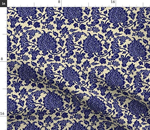 Rococo Royal Blue Floral Damask Natural Fabric - Hewitt 1G Baroque Renaissance Victorian Brocade Toile Art Deco Print on Fabric by the Yard - Petal Signature Cotton for Sewing Quilting Apparel Crafts