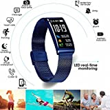Fitness Activity Tracker Watch IP68 Waterproof Sports Stylish Bracelet with Fashion Metal Mesh Strap for All Day Activity and Auto Sleep Tracking Pedometer with APP Support for iOS/Android (Blue)
