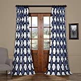 PRTW-D22D-96 Sorong Printed Cotton Curtain, Royal, 50 x 96 For Sale