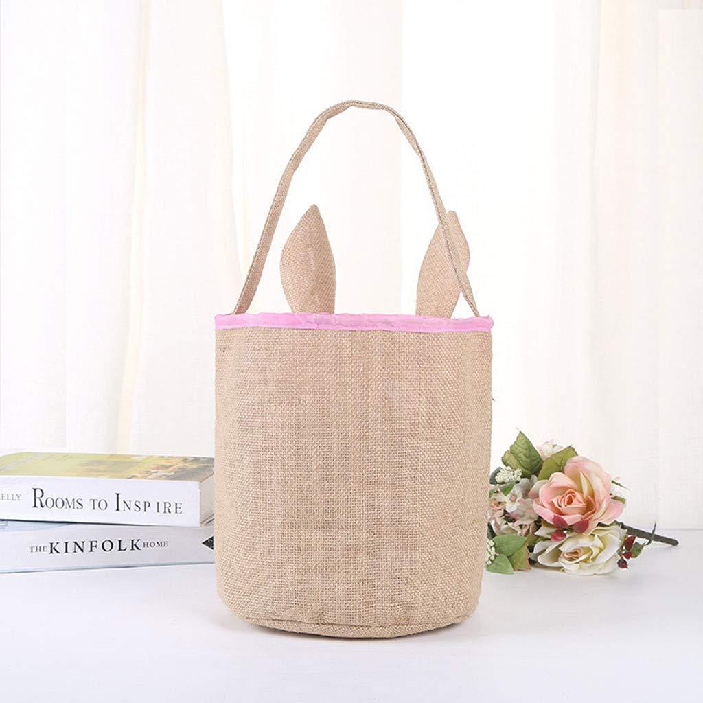 Easter Bunny Bag Easter Gift Bag Dual Layer Bunny Ears Design Cute Easter Eggs Gift Basket for Kids (Hot Pink)
