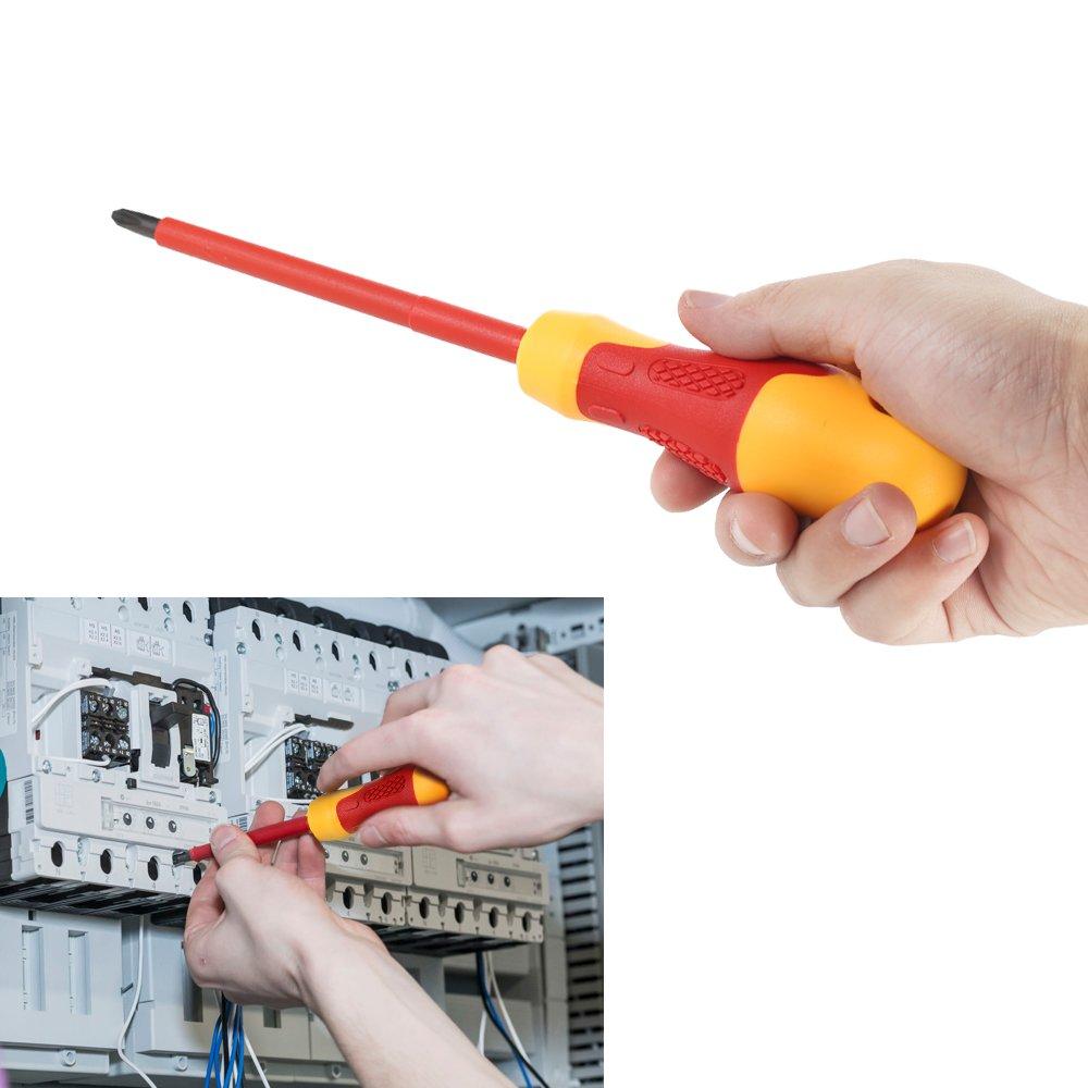 KKmoon 10pcs 1000V Set di Cacciaviti Isolati con Intaglio Magnetico e Punte Phillips Soft Grips Elettricisti Strumenti di Riparazione del Lavoro Elettrico