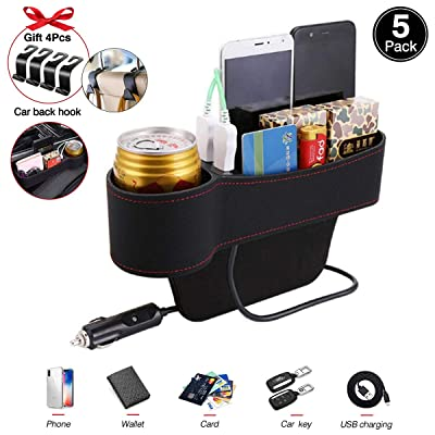 Multifunctional Car Seat Organizer Front Seat Cup Holder, Car Seat Gap Filler, Premium PU Leather Seat Catcher Car Seat Gap Storage Box with 2 USB Ports(Gift:4 seat Back Hooks)(Driver Side): Sports & Outdoors