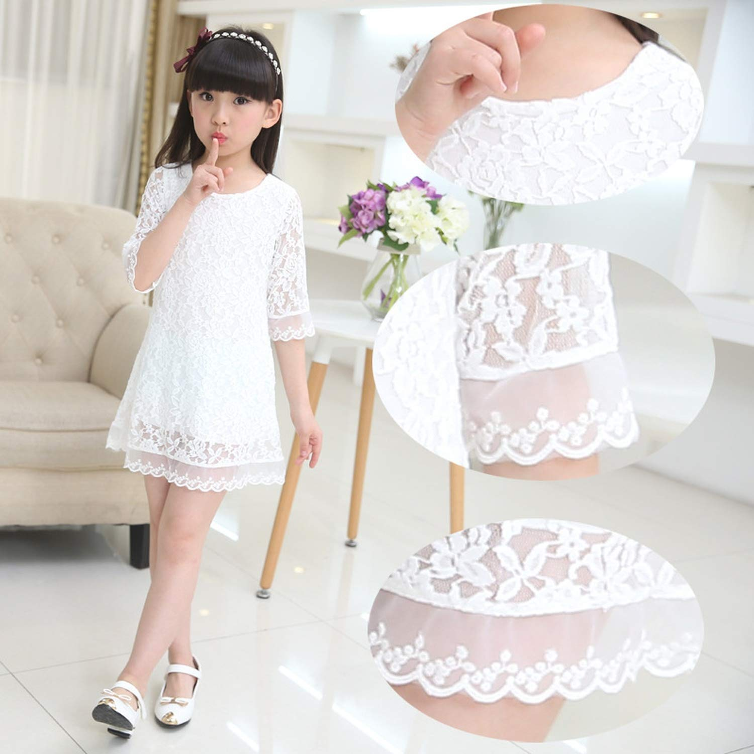 Kids 2018 Summer Autumn Lace Dress White Large Size Girls Dress Princess 3 4 6 8 10 12 14 16 18 Years Old Baby Girl,White,7 by Gooding Day (Image #4)