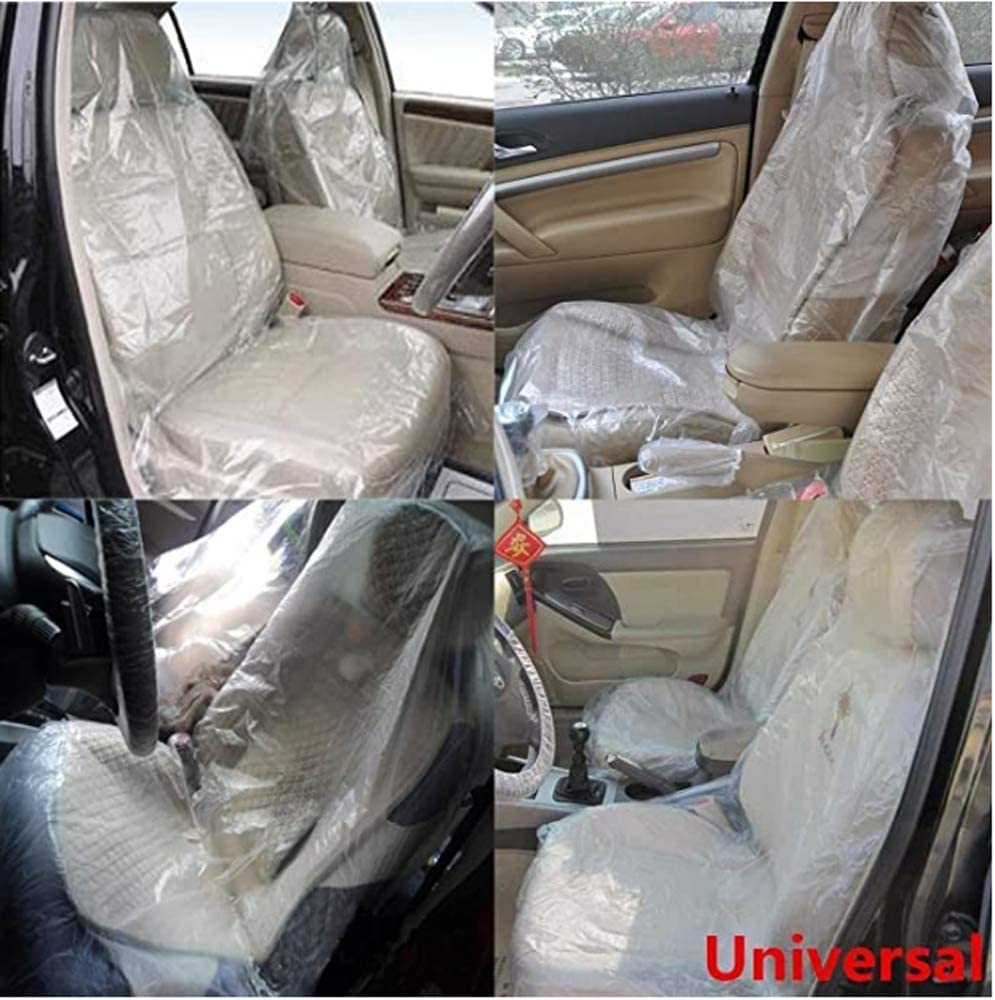 Clear, 1 Set Waterproof Seat Covers Protector Keep Your Seat Clean for Car Maintenance Three-Piece Disposable Suit Universal Seat Cover+ Steering Wheel Cover+ Gear Lever Cover