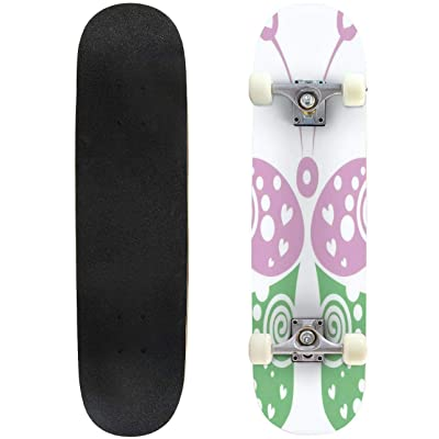 31 inch Skateboard vector illustration of decorative ornamental green and pink butterfly Complete Longboard Standard Skate board Double Kick Tricks Skateboards for Kids Boys Girls Youths Beginners : Sports & Outdoors