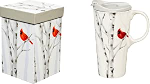 Cypress Home Beautiful Perching Cardinal Ceramic Travel Cup with Matching Box - 4 x 5 x 7 Inches Indoor/Outdoor home goods For Kitchens, Parties and Homes
