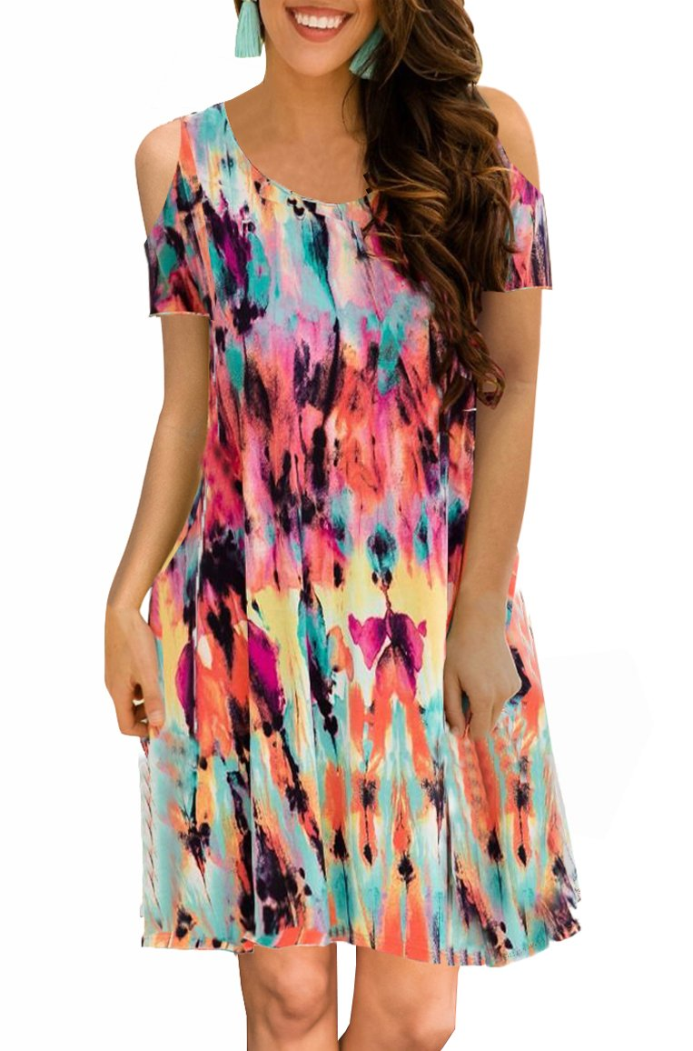 ETCYY Women's Cold Shoulder Casual Sundress T-Shirt Dress for Summer with Pockets