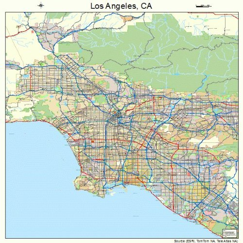 Large Street & Road Map of Los Angeles, California CA - Printed poster size wall atlas of your home town