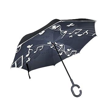FOLPPLY Paraguas invertido Nota Musical con Mariposa, Doble Capa Reverso Paraguas Impermeable para Coche Lluvia