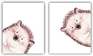 """Cute Animals Pink and Brown Hedgehog Inspirational Words Quote Art Painting Set of 2 (8""""X10"""" Canvas Picture),Peekaboo Hedgehog Wall Art Print Poster for Nursery or Room Home Decor,No Frame"""