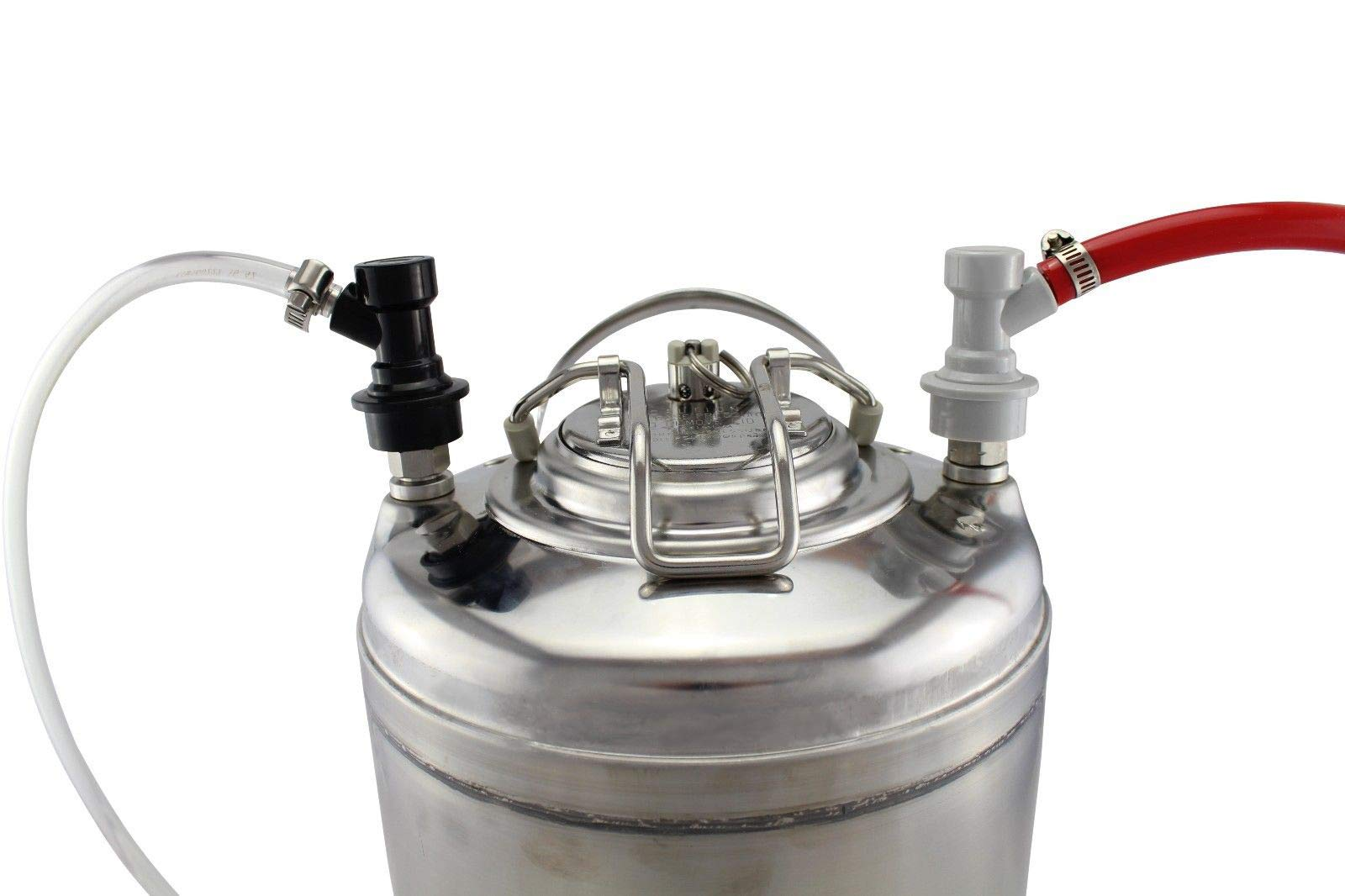 PERA 2 Pair Ball Lock MFL Beer Keg Disconnect Set with Swivel Nuts (2) 5/16 Gas, 1/4 Liquid Barbed by PERA