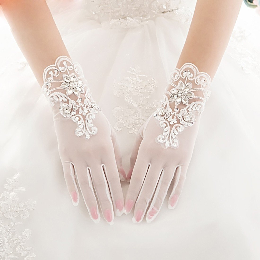 KHSKX-Sposa Lace, Guanti Di Strass, Guanti, Sposa, Breve Matrimonio Dito I Guanti, Guanti, Accessori.