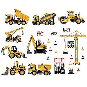 ufengke Construction Vehicle Wall Decals DIY Tractor Excavator Crane Wall Stickers Art Decor for Kids Boys Nursery Bedroom