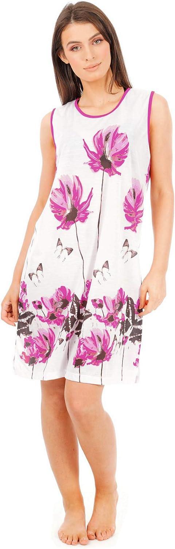 traspirante Abito da notte corto da donna stile kaftano i-Smalls senza maniche con fiori e farfalle 100/% cotone
