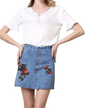 ebded8beec Women s Short Denim Skirt Stretch Denim Mini-Skirt 3XL  Amazon.co.uk ...