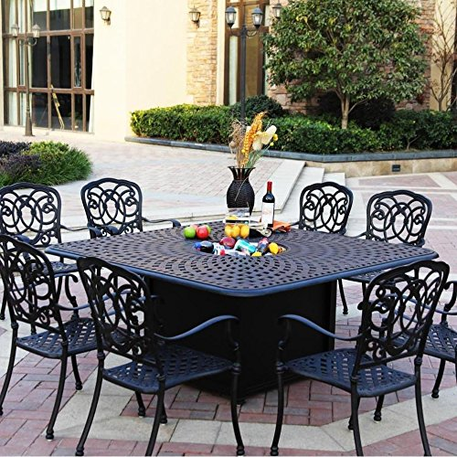 - Darlee Florence 9 Piece Cast Aluminum Patio Fire Pit Dining Set - Dining Table With Ice Bucket Insert - Mocha