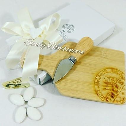 Bomboniera para boda Aniversario Novios Tabla de madera para quesos + navaja