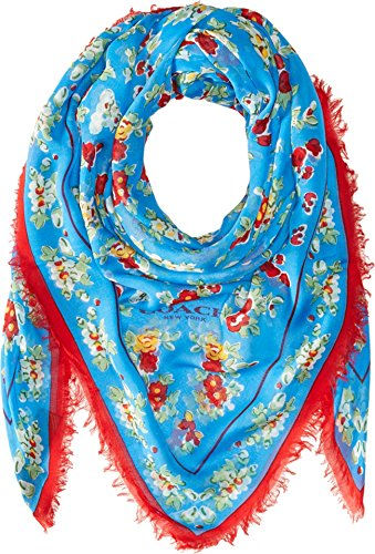 COACH Women's Floral Woven 54 X 54 Oversized Square Azure Scarf