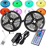 Magic BEAM Led Strip Lighting Full Kit 10-Meter 32.8 Ft 5050 RGB 300 Leds Flexible Color Changing LED Light Strips with Power Supply + 44-Key IR Remote Controller