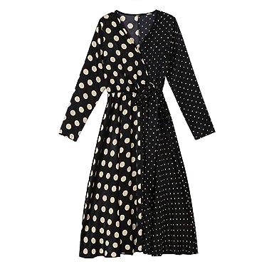 Vestido de Mujer Falda Larga de Lunares con Cuello En Pico Casual ...