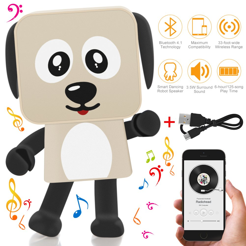 Portable Bluetooth Speaker Dancing Robot Dog, Dooreemee Cute Mini Wireless Stereo Outdoor Indoor Bluetooth Speakers V4.1 with HD Audio, Enhanced Bass, 3W Power Driver, 6-Hour Playtime, 33-Foot Bluetooth Range for Iphone/Andriod/Ipad/Tablet - Best Gifts for
