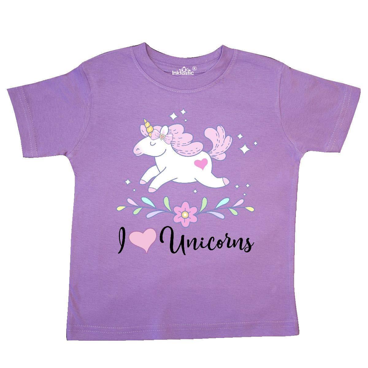 inktastic I Love Unicorns Cute Girls Toddler T-Shirt