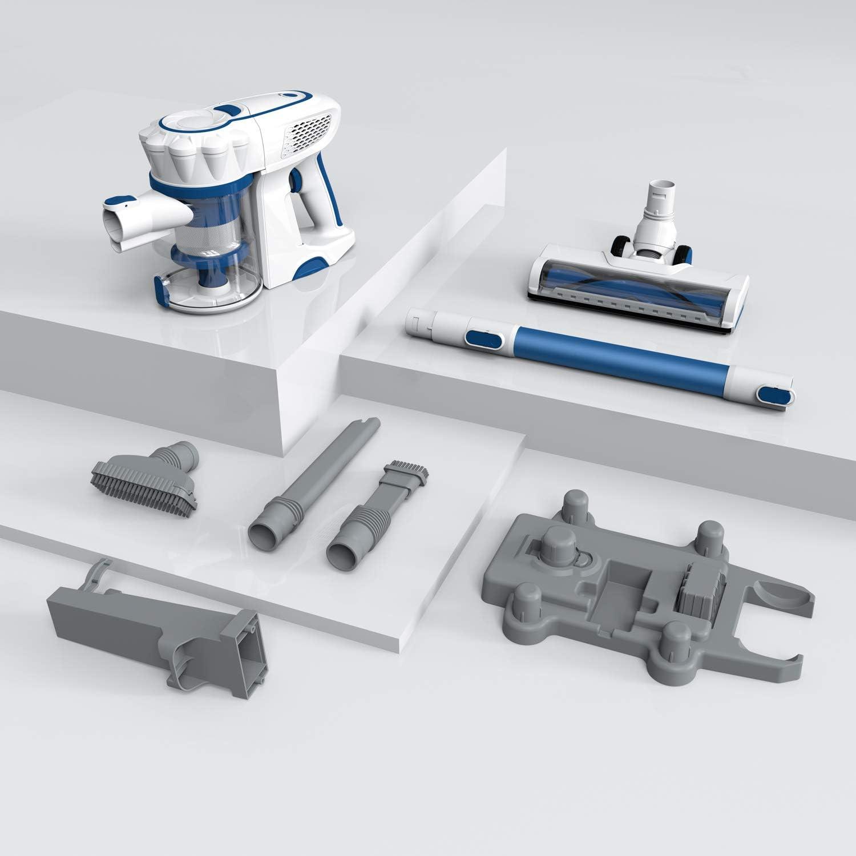 ORFELD Cordless Vacuum Stick Handheld Vacuum Cleaner 4 in 1 Unique-Design Storage Base 1.4L Big Dustbin 13000pa High Suction for Hard Floor Carpet Car Pet Hair White//Blue