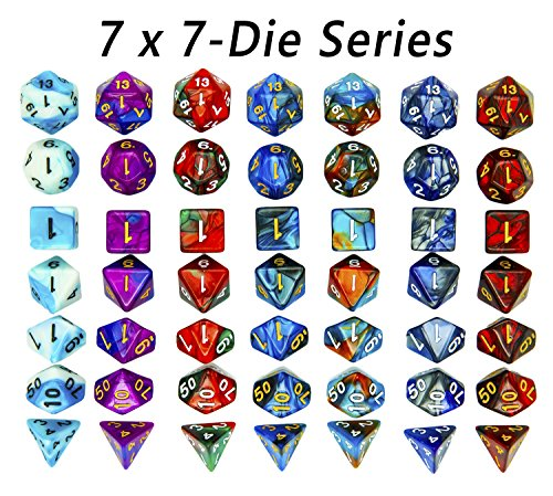 Dragon Full Face (Oun Nana 7 x 7-Die Series Two Colors dnd Dice Set for Dungeons and Dragons DND RPG MTG Table Games D4 D8 D10 D12 D20 Polyhedral Dice)