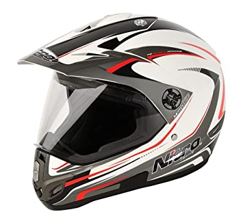 Nitro 187118S16 MX630 Devil Casco Moto, Color Blanco, Rojo y Gris, Talla S