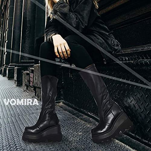 Details about  /Europe Women Mid Calf Boots Cowboy Zip Up Wedge Heel Round Toe Shoes 41//42//43 L