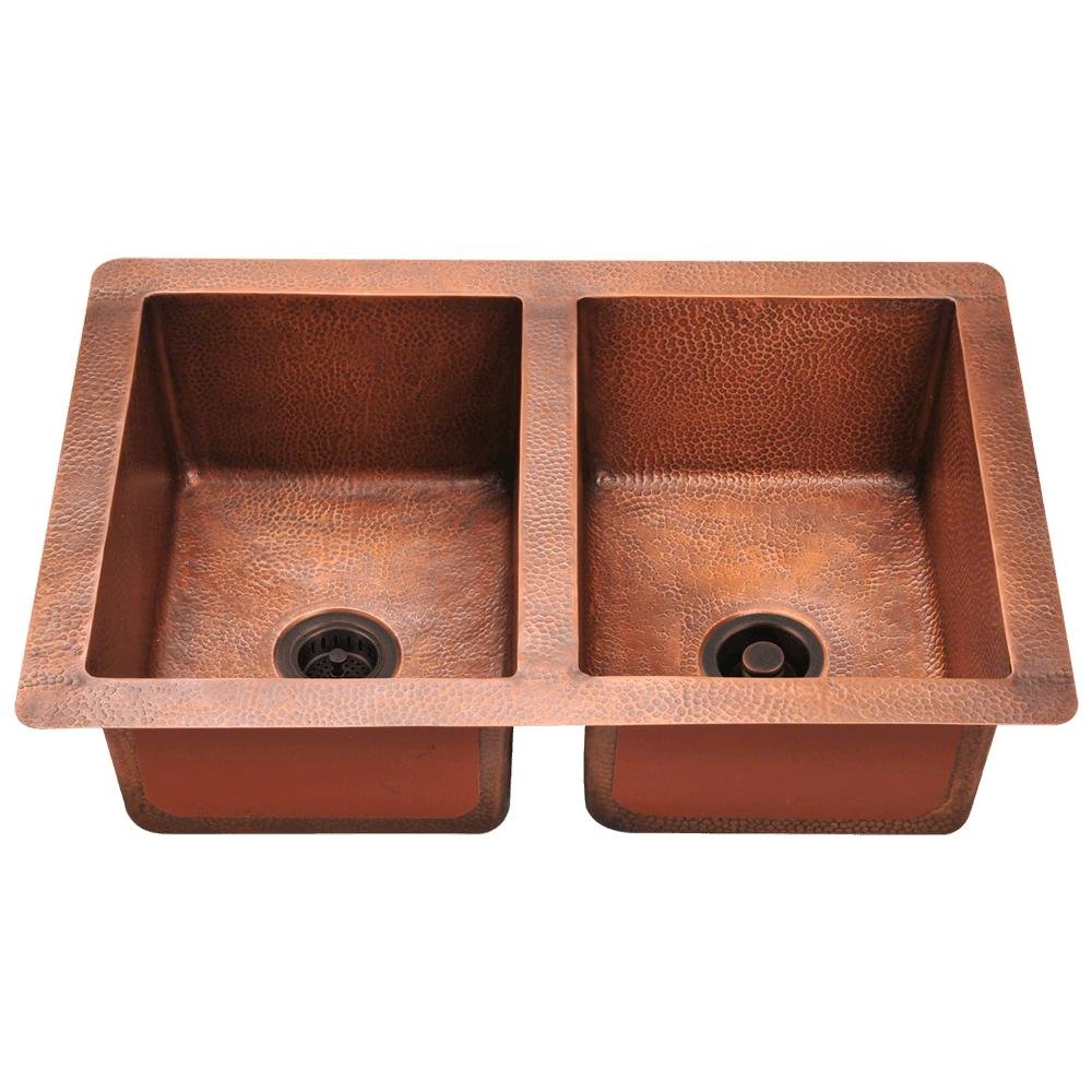 902 Equal Double Bowl Copper Sink, Sink Only