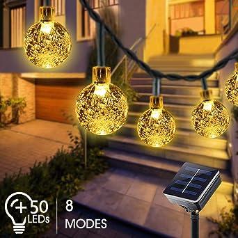 Guirnaldas Luces Exterior Solar, Bosunnny Cadena de Bola Cristal Luz para Exterior, 7M 50 LED, Guirnalda Luminosa Impermeable, Luces Decoración para Jardín, Casa, Bodas (Blanco Cálido): Amazon.es: Iluminación