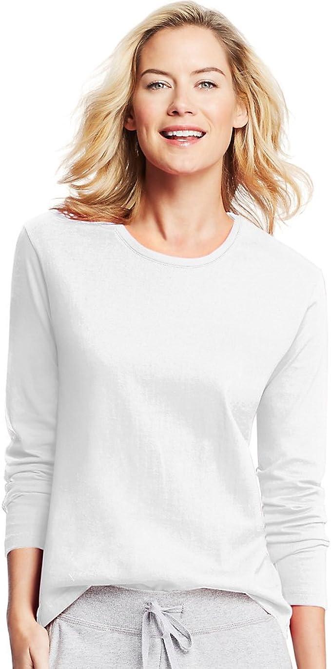 Hanes Women/'s Long-Sleeve Cotton Crewneck Tee