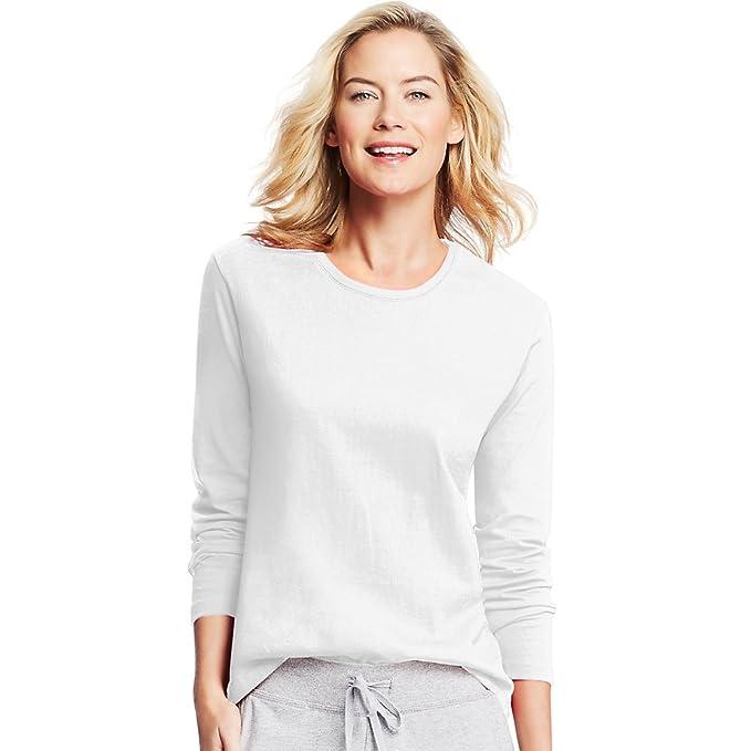 bc9d1eb86100 Hanes Women's Long-Sleeve Crewneck T-Shirt, White, XL at Amazon ...