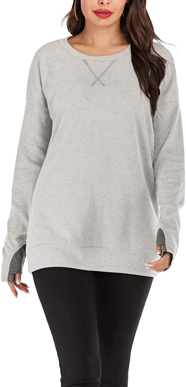 Womens Tops Casual T-Shirt Long Sleeve Tunics Cotton Knits Tees with Thumb Hole