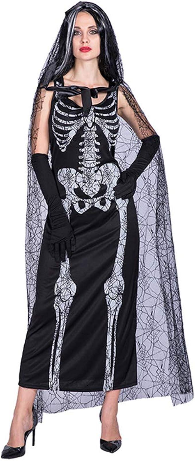 DPSLYXCD Disfraz De Esqueleto De Mujer Adulta, Vestido Largo De ...