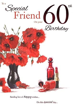 female friend 60th birthday card icg 7789 red flowers nail varnish
