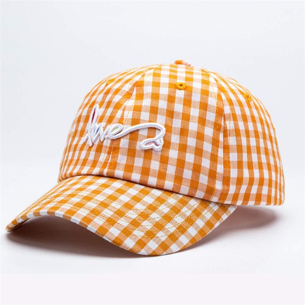 sdssup Sombrero de sombrilla de Verano Fino a Cuadros Bordado Tapa Moda Letra Gorra de béisbol Amarillo Ajustable