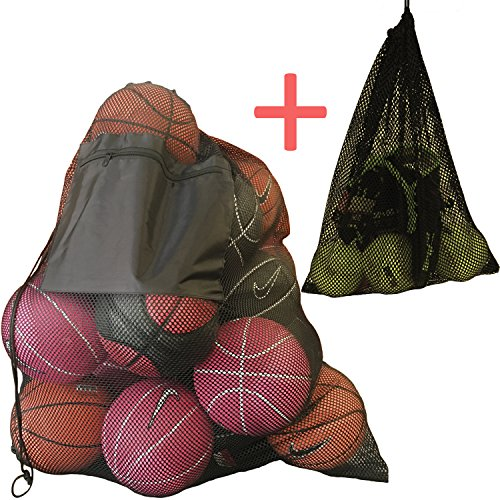 2 Set Mesh Ball Bags, Large Heavy Duty and Extra Thick Drawstring 29 x 38 Inch Mesh Sports Equipment Bag With Shoulder Strap and Front Pocket, Small Sport Mesh Equipment Bag 14  x 18 Inch
