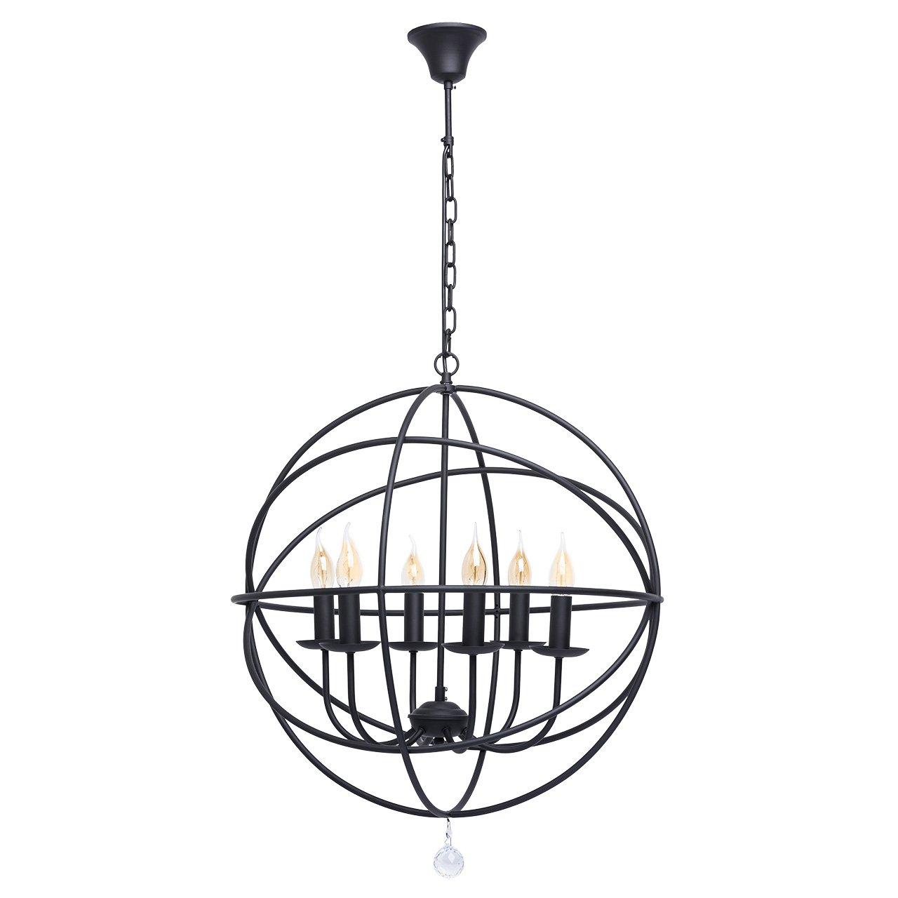 Rustikale Pendelleuchte schwarz Metall Farbe mit Kristalltropfen für Landhaus 6 - flammig mit ringe exkl.6  60W E14